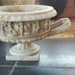 Italian Carrera marble urn, antiqued Hand sculpted