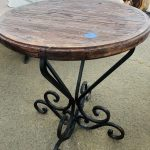 wood top table, round, with wrought iron legs. Also available with copper top
