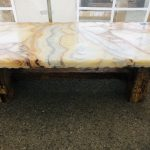Onyx table in ochre and cream, 5' length, wooden legs