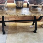 "Onyx table 65"" length ochre and brown with solid iron legs"