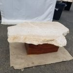 Small onyx table with wood base