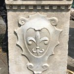 """Italian Carrera Marble Fleur de Lis coat of arms, antiqued 26"""" Ht Hand sculpted by famed artisan Emiliano"""
