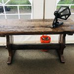 Wooden table made from antique door