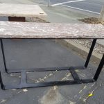 Onyx table with iron legs