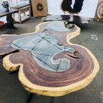 Parota wood table with glass inlay